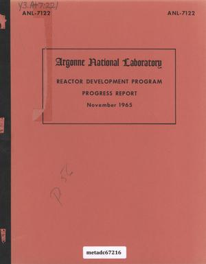 Primary view of object titled 'Reactor Development Program Progress Report: November 1965'.