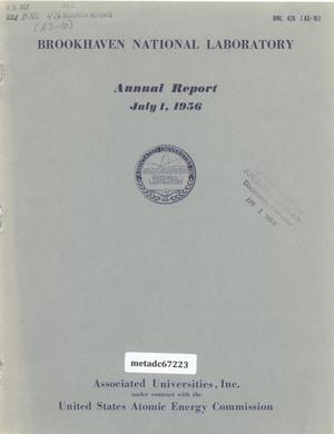 Primary view of object titled 'Brookhaven National Laboratory Annual Report: 1956'.