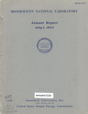 Primary view of object titled 'Brookhaven National Laboratory Annual Report: 1954'.