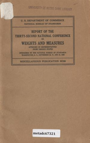 Primary view of object titled 'Report of the Thirty-Second National Conference on Weights and Measures, 1946'.