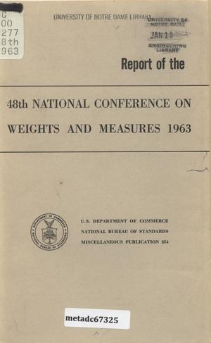 Primary view of object titled 'Report of the Forty-Eighth National Conference on Weights and Measures, 1963'.