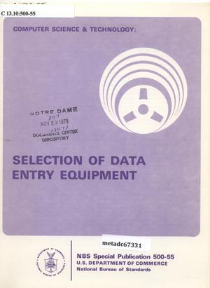 Primary view of object titled 'Selection of Data Entry Equipment'.