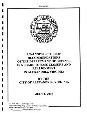 Primary view of object titled 'State Input -  Regional Hearing 7 July 2005 National Capital Region  City of Alexandria'.