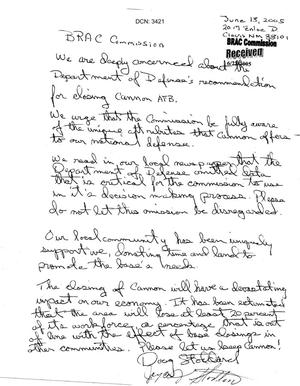 Primary view of object titled 'Letter from Doug and Joyce Stoddard in support of Cannon AFB'.