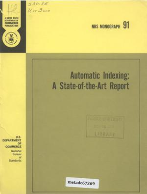 Primary view of object titled 'Automatic Indexing: A State-of-the-Art Report'.