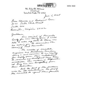 Primary view of object titled 'Letter from Mrs. Robert E. McGowan in support of Cannon AFB'.