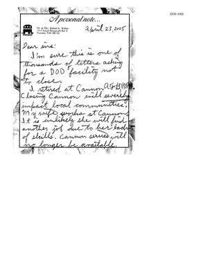 Primary view of object titled 'Letter from Robert K. Wiltse to the Commission dtd 23 April 2005'.