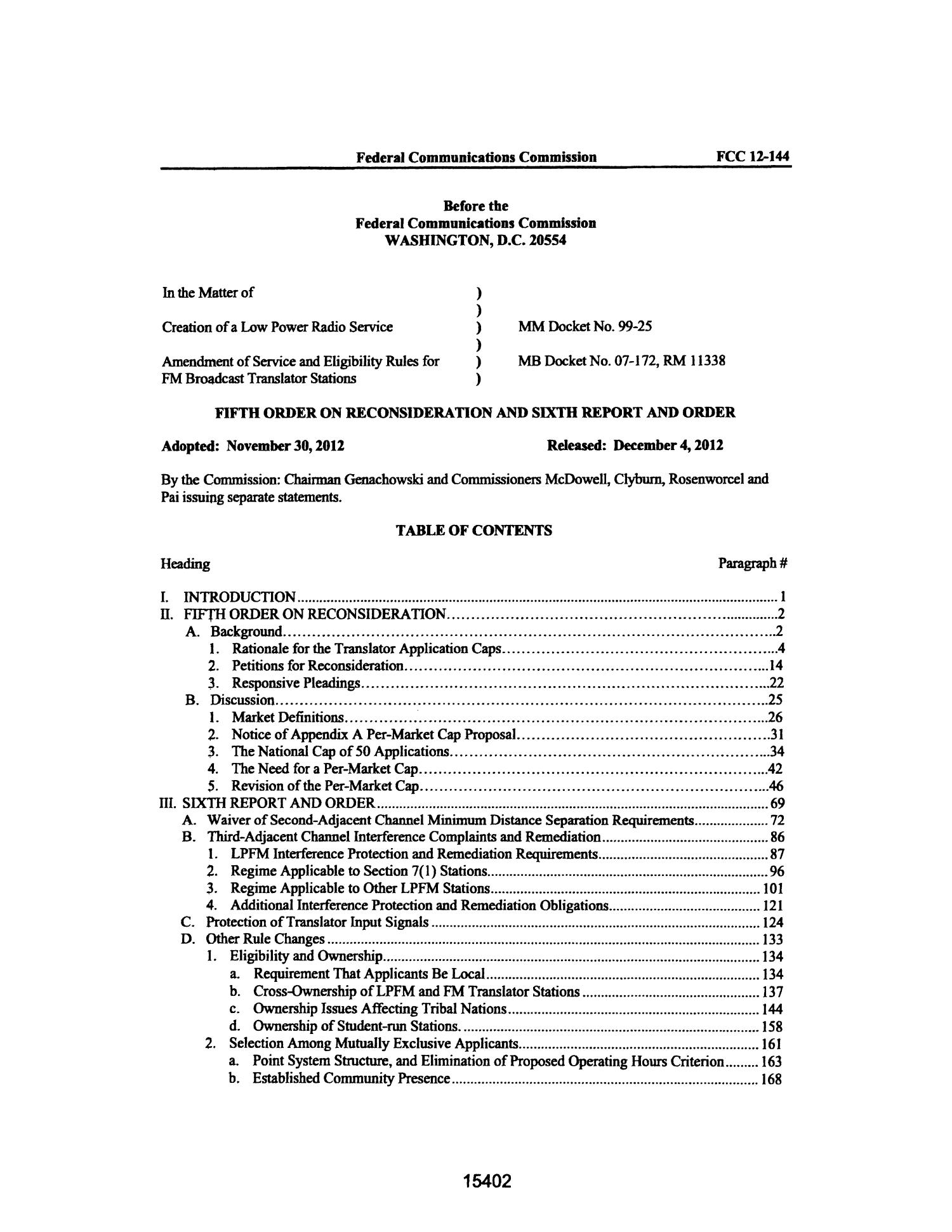 FCC Record, Volume 27, No. 18, Pages 14770 to 15765, November 26 - December 13, 2012                                                                                                      15402