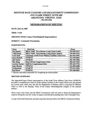 Primary view of object titled '[Memorandum of Meeting: South Texas Military Facilities Task Force, June 24, 2005]'.