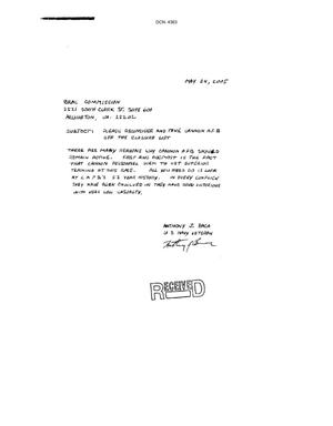 Primary view of object titled 'Letter from Anthony J. Baca  to the BRAC Commission dtd 24 May 2005'.