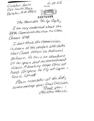 Primary view of object titled 'Letter from Gretchen Haase to the BRAC Commission dtd 20 May 2005'.