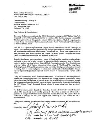 Primary view of object titled 'Letter from Anthony Wisniewski in support of 142 Fighter Wing's F-15 aircraft'.