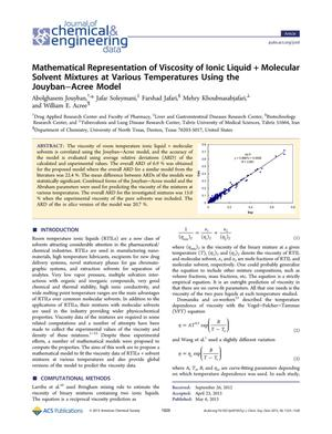 Primary view of object titled 'Mathematical Representation of Viscosity of Ionic Liquid + Molecular Solvent Mixtures at Various Temperatures Using the Jouyban-Acree Model'.