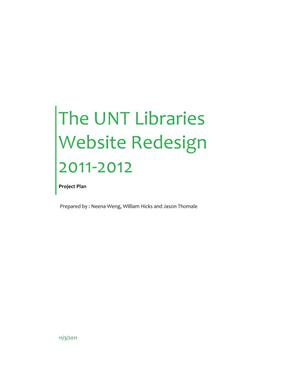 The UNT Libraries Website Redesign 2011-2012: Project Plan