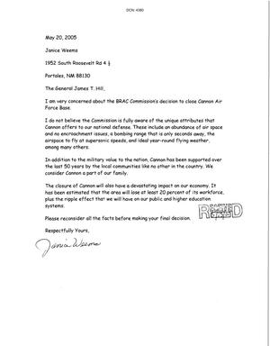 Primary view of object titled 'Letters from Janice Weems to the Commission dtd 20 May 2005'.
