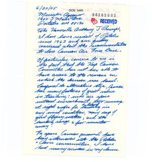 Primary view of object titled '[Letters from Mercedes Agogerio to the BRAC - June 20, 2005]'.