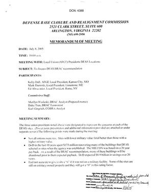 Primary view of object titled '[Memorandum of Meeting: Defense Finance and Accounting Service, July 8, 2005]'.