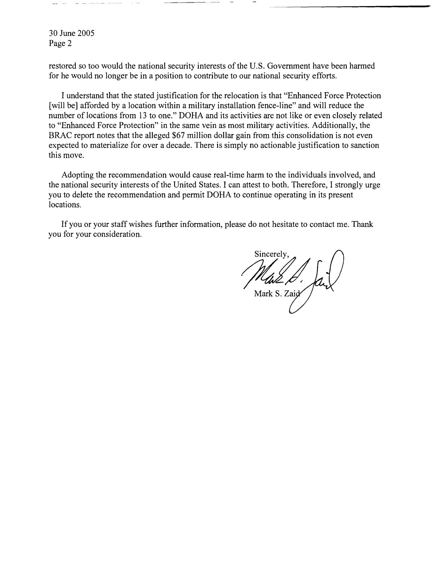 Letter from Mark S. Zaid in support of DOHA                                                                                                      [Sequence #]: 2 of 2