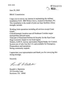 Primary view of object titled 'Letter from Ronald A. Batchelor to the Commission in regards to NAS JRB Willow Grove.'.