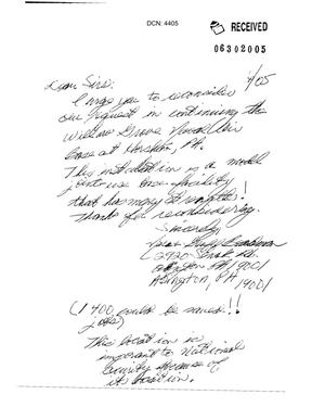Primary view of object titled 'Letter from a concerned citizen of Willow Grove Naval Air Base'.