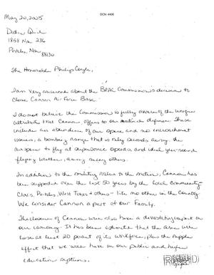 Primary view of object titled 'Letters from Dedra Quick to the Commission dtd 20 May 2005'.