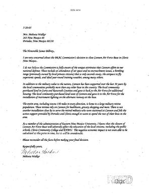Primary view of object titled 'Letters from Melveta Walker to the Commission dtd 20 May 2005'.
