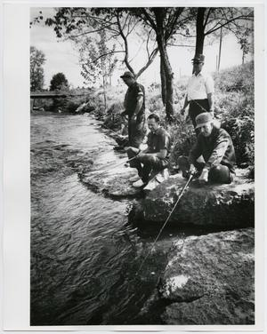 Primary view of object titled '[Four men fishing on Mulberry Creek]'.