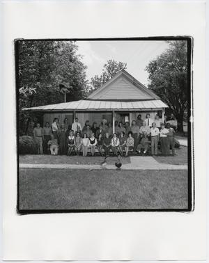 Primary view of object titled '[Jack Daniel's workers on Jack Daniel's Old Office Porch]'.