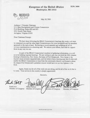 Primary view of object titled 'Letter from New Jersey Congressional Reps to Chairman Principi dtd 18 May 2005'.