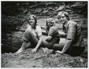 Primary view of object titled '[Elizabeth Motlow, Melinda Motlow and Junebug Clark at the Jack Daniel's Cave Spring]'.