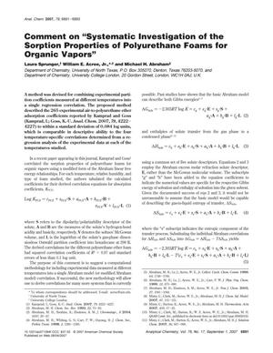 "Comment on ""Systematic Investigation of the Sorption Properties of Polyurethane Foams for Organic Vapors"""