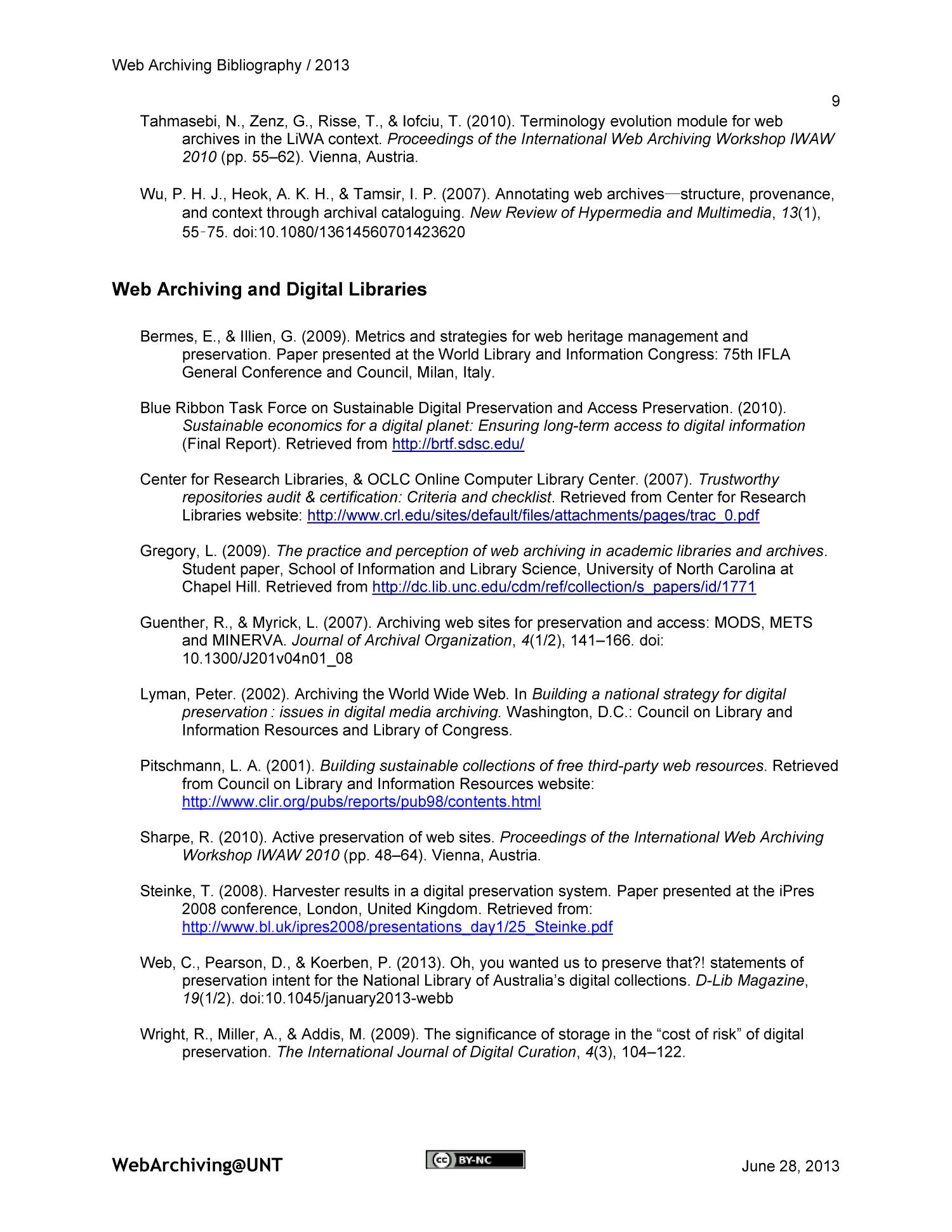 Web Archiving Bibliography 2013 - Page 9 - Digital Library