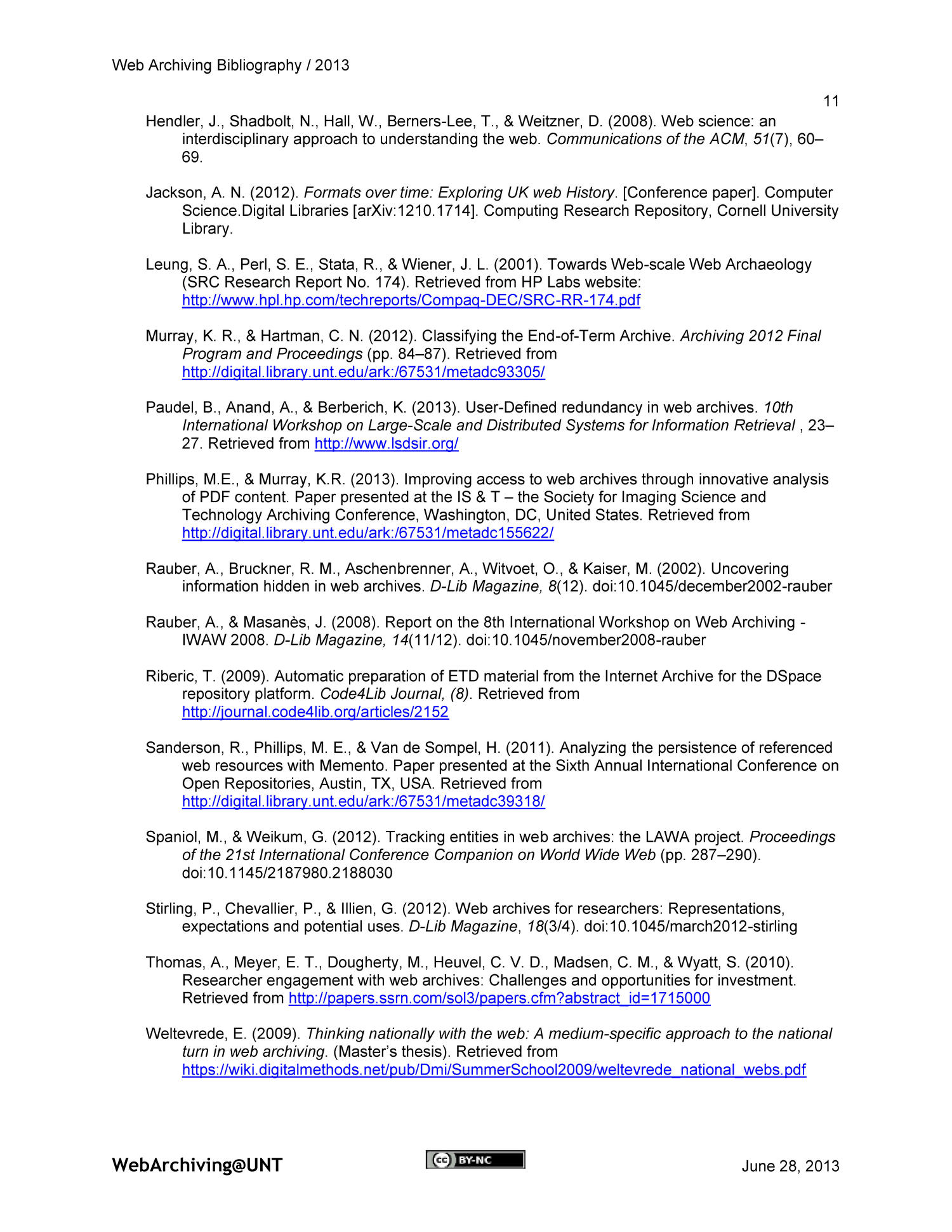 Web Archiving Bibliography 2013 - Page 11 - Digital Library