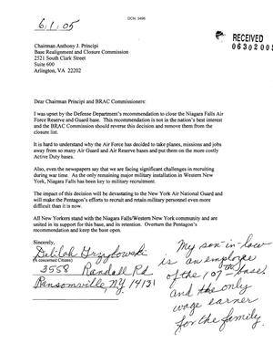Primary view of object titled 'Letter from Delilah Grzybowski to the BRAC Commission dtd 01 June 2005'.