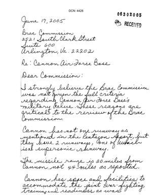 Primary view of object titled 'Letter from Jane Thompson to the Commission regarding Cannon AFB'.