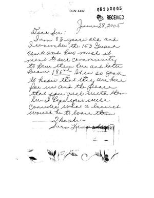 Primary view of object titled 'Letter from Sara Kennedy to the Commission in support of saving her community'.
