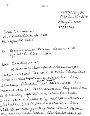 Primary view of object titled 'Letter from Judy Willima to the BRAC Commission dtd 27 May 2005'.
