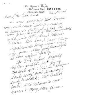 Primary view of object titled 'Letter from Virginia L. Murphy to the BRAC Commission dtd 28 May 2005'.