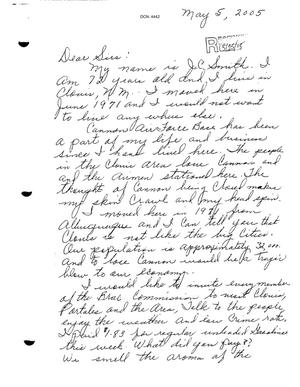 Primary view of object titled 'Letter from JC Smith to the BRAC Commission dtd 05 May 2005'.