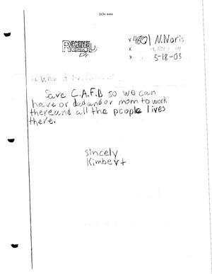 Primary view of object titled 'Letter from concerned citizen to the BRAC Commission dtd 18 May 2005'.
