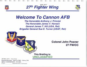 Primary view of object titled '103-06A - RH6 - State Input - Regional Hearing - June 24, 2005 - Clovis, NM - Welcome to Cannon AFB Presentation'.