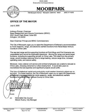 Primary view of object titled 'Executive Correspondence – Letter dtd 07/06/05 to Chairman Principi from Moorpark CA Mayor Patrick Hunter'.