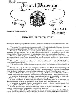 Primary view of object titled 'Executive Correspondence – Wisconsin 2005 Senate Joint Resolution 29'.