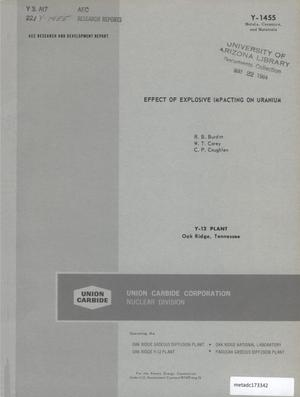 Primary view of object titled 'Effect of Explosive Impacting on Uranium'.
