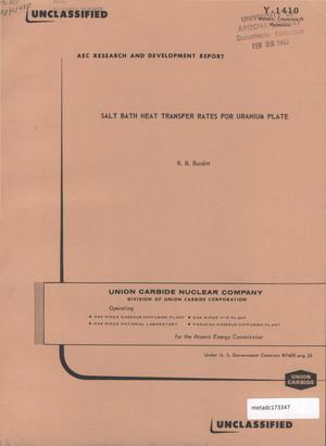 Primary view of object titled 'Salt Bath Heat Transfer Rates for Uranium Plate'.