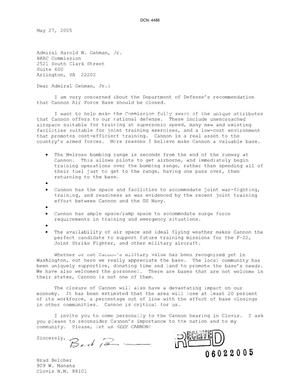 Primary view of object titled 'Letters from Brad Belcher to the Commission dtd 27 May 2005'.