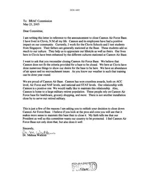 Primary view of object titled 'Letter from Dr. Melissa Watkins to the BRAC Commission dtd 23 May 2005'.