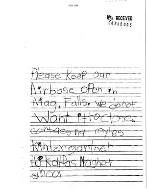 Primary view of object titled 'Letter from Cortaesna Myles (kindergartner) to BRAC Commission'.
