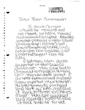 Primary view of object titled 'Letter from Judy Branham to the BRAC Commission'.