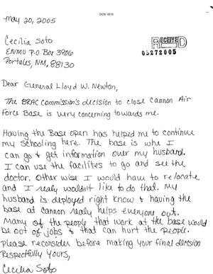 Primary view of object titled 'Letter from Cecilia Soto to Commissoner Lloyd W. Newton dtd 20 May 2005'.